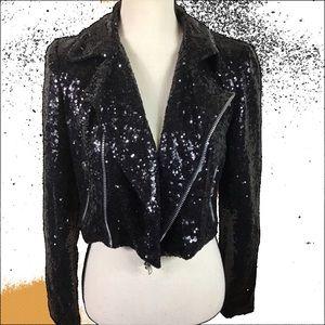 Forever 21 Black Sequin Moto Jacket